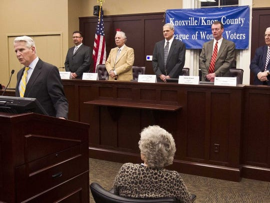 Former judge Gary Wade and Dean t the LMU Duncan School of Law, front left, speaks before a debate hosted by the Knoxville/Knox County League of Women Voters a Thursday, Feb. 4, 2016, in Knoxville, Tenn.} Behind Wade are candidates for Property Assessor, from left, are Andrew Graybeal, Jim Weaver,  John Whitehead, candidates for Property Assessor, Nathan Rowell and Richard 'Bud' Armstrong. (WADE PAYNE/SPECIAL TO THE NEWS SENTINEL)