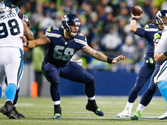 Seattle's Justin Britt (68) emerged as a viable center for the Seahawks last season.