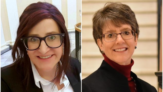 Gia Drew, left, and Traci Gere, both of Kennebunkport, are seeking the Democratic nomination in the Maine House District 9 race during the state primary on July 14.