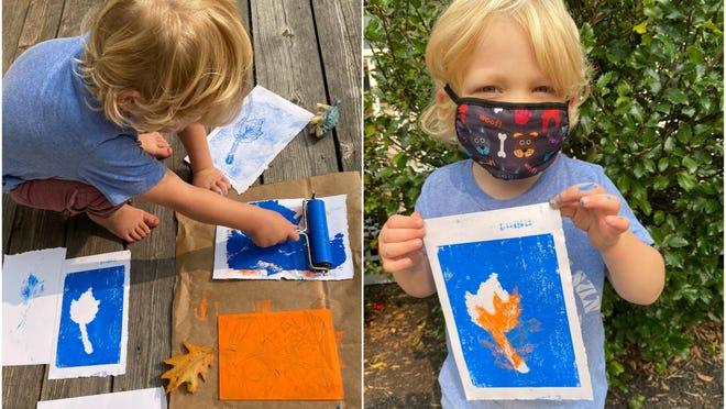 Sebastian Cavaretta, 3, of York, tries his hand at leaf printing, which will be taught Sunday, Sept. 27, as part of a workshop at Ocean Fire Pottery in York, Maine.