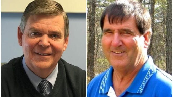 Kennebunk Town Manager Michael Pardue (left) and Kennebunk educator and coach Joseph Rafferty are running for the Maine Senate District 34 seat in the Nov. 3 election.