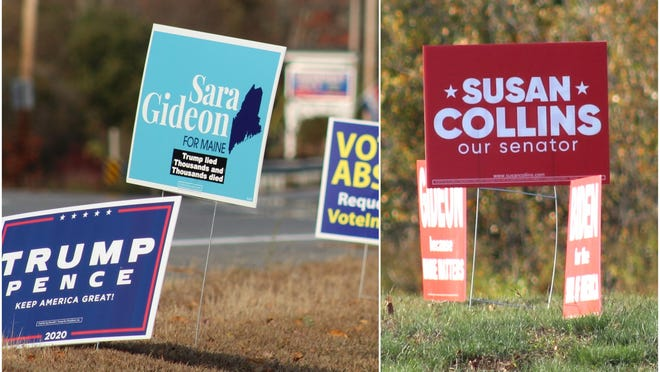 LEFT: A campaign sign supporting Democratic challenger Sara Gideon's bid for U.S. Senate sits along U.S. Route 1 in York, Maine, on Monday, Oct. 19, among signs supporting President Donald Trump and several other candidates for federal, state and local office. RIGHT: A campaign sign supporting Republican incumbent Sen. Susan Collins sits in the grassy median on Spur Road on Oct. 19, between signs supporting Gideon and former Vice President Joe Biden, the Democratic presidential nominee.