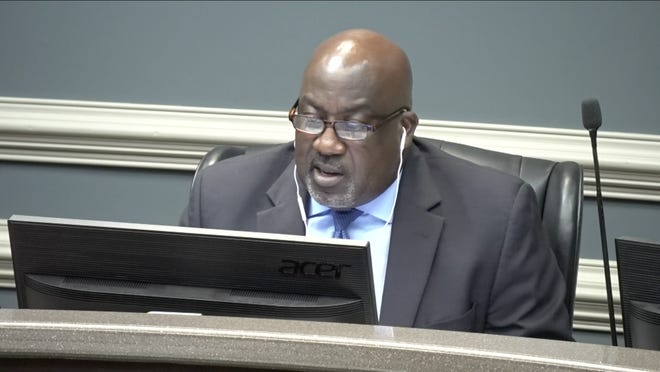 Richmond County Superintendent Kenneth Bradshaw explaining the current state of COVID-19 in the district during a school board meeting Tuesday, Aug. 4.
