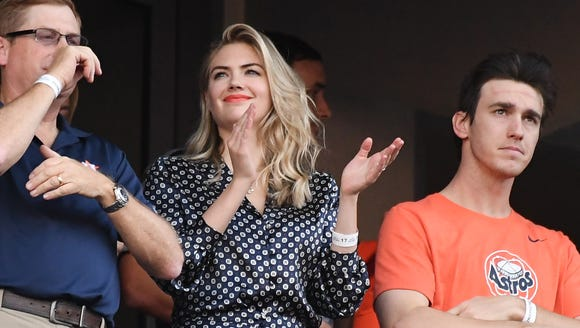 Kate Upton roots for the Astros at Game 2.
