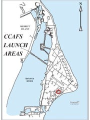 Map showing the location of Launch Complex 17 at Cape