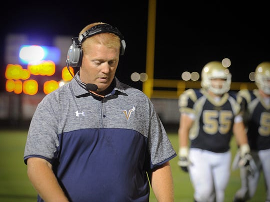 Former CSD Vikings head coach Jake Coleman paces the sidelines during his team's win against Wi-Hi on Sept. 2, 2016 in Cambridge.