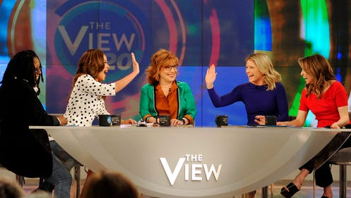 """In this Feb. 28, 2017 photo released by ABC, co-hosts, from left, Whoopi Goldberg, Sunny Hostin, Joy Behar, Sara Haines and Jedediah Bila appear during a broadcast of, """"The View,"""" in New York. The unquenchable thirst for chatter about President Donald Trump has changed the dynamics of a fierce daytime television competition much as it has in late-night TV. """"The View"""" has spent more time talking politics with the arrival of a new administration, stopping the momentum of its rival """"The Talk,"""" which sticks to pop culture."""