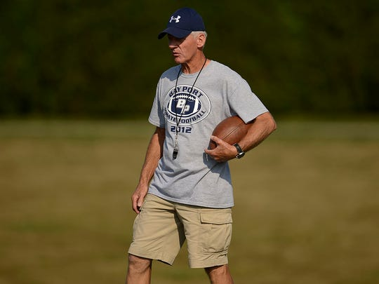 Bay Port assistant coach Bill Turnquist looks on during Friday's practice.