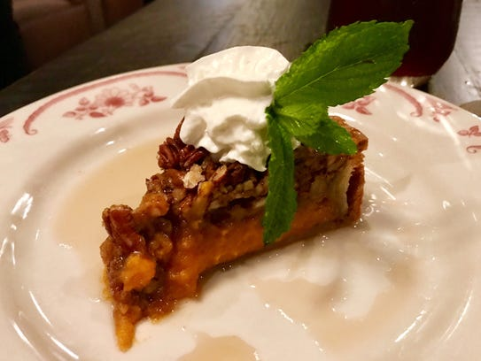 Sweet potato pecan pie at The Saloon, a wood-fired