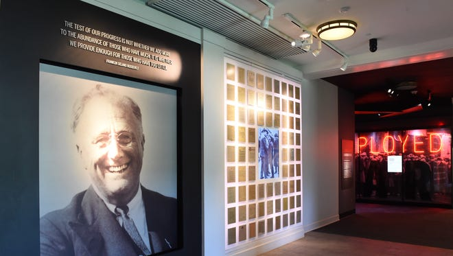 At the entrance of the FDR Presidential Library and Museum, visitors are greeted by a large photo of FDR, which is surrounded by letters sent to him and his wife, Eleanor.