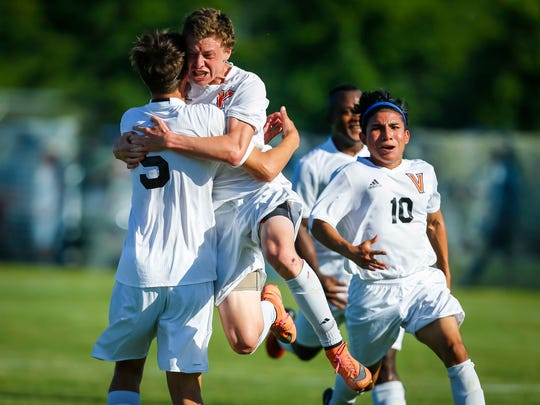 West Des Moines Valley's Body Patterson celebrates his goal against Des Moines Roosevelt during their 3A quarterfinal at the Iowa boys' state soccer tournament in Thursday, June 1, 2017, in Des Moines, Iowa.
