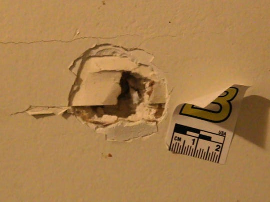 Bullet hole in the wall. Cassie Jones describes the