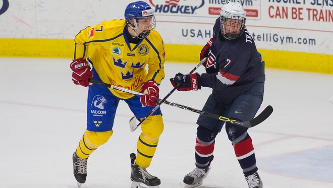 Brady Tkachuk (right) and his teammates with the U.S. Under-18 squad, shown during November's Five Nations Tournament in Plymouth, defeated Sweden Tuesday in the preliminary round of the IIHF U-18 Men's World Championship.