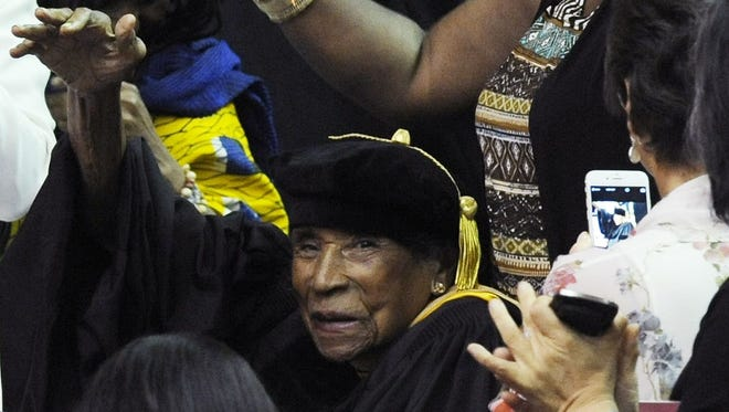 File photo shows civil rights pioneer Amelia Boynton Robinson in May 2015, in Tuskegee, Ala.(Mickey Welsh/Advertiser)