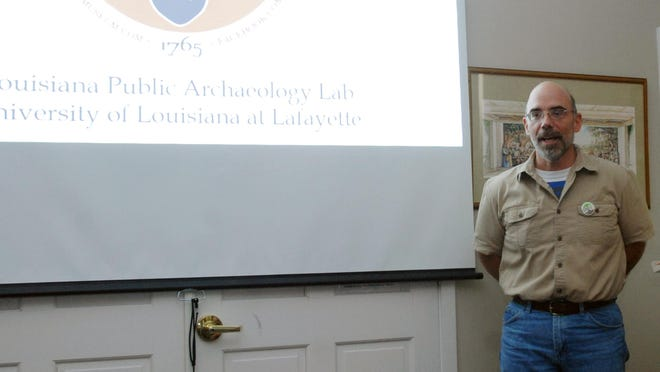 Mark Reese, associate professor of anthropology at the University of Louisiana at Lafayette, gave an update on the New Acadie Project, Saturday.