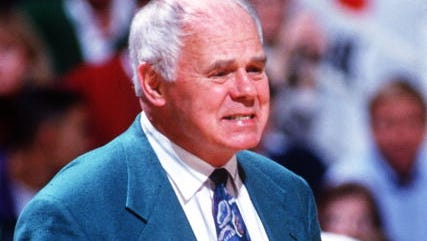 The late Jud Heathcote, here in 1993, coached Michigan State's basketball program for 19 seasons, making this face about 1,900 times.