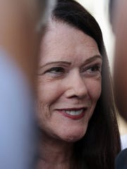 A smiling Kathleen Zellner talks during an August  press conference in Manitowoc following her request for post-conviction scientific testing in the Teresa Halbach murder case.