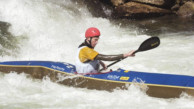 Andrew McEwan paddles during a past Wildwater  on the Nantahala River.