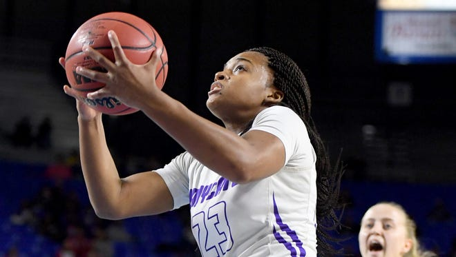 Haywood's Jamirah Shutes scores during the 2018 Class AA quarterfinals against Pittman, Thursday, March 8, in Murfreesboro.