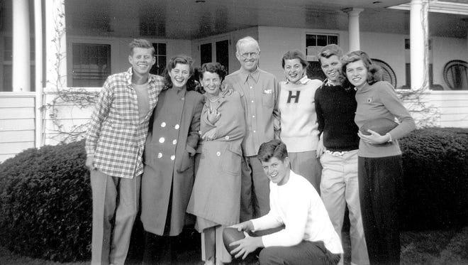 John F. Kennedy, left, Jean Kennedy, Rose Kennedy, Joseph P. Kennedy Sr., Patricia Kennedy, Robert F. Kennedy, Eunice Kennedy, and Edward M. Kennedy in 1948.