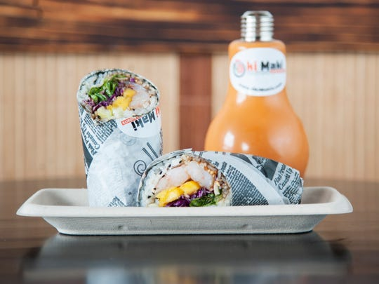 Special Roll B (shrimp, cucumber, mango, spring mix, red cabbage, peanut, and eel sauce) in a maki, aka a sushi burrito, and a Thai tea at Oki Maki in Voorhees.  10.05.17