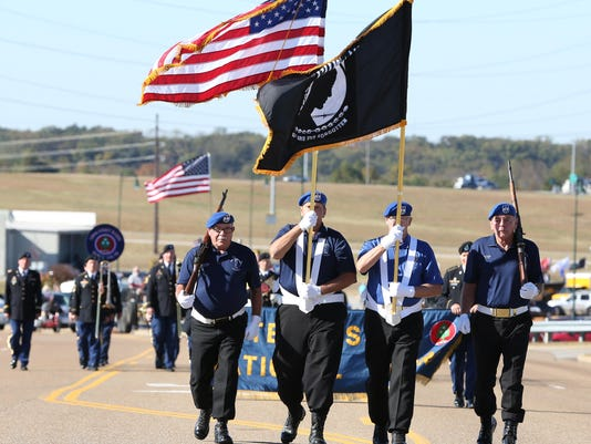 1 The Veteran's Honor Guard of Parkers Crossroads led the 2nd Annual Veterans Da