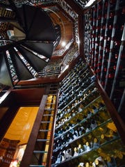 A view of the wine tower at Angelina's.