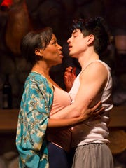"""Kyle Coffman and JoAnna Rhinehart star as a man and woman in a complicated one-night stand in """"Sex With Strangers"""" at George Street Playhouse in New Brunswick."""