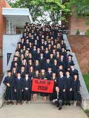 The Pennington School Class of 2018 with Headmaster William S. Hawkey (in front).