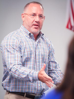 """Texas A&M head basketball coach Brent """"Buzz"""" Williams, a Van Alstyne native, returned to speak at Van Alstyne ISD's Convocation on Aug. 7. Prior to the event, he met with the coaches at the school district."""
