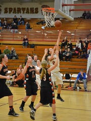 The Spartans' Brynn Schartner makes a layup during the L-C home game Jan. 6.