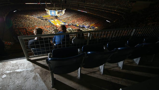 Section 752 at NRG Stadium ... definitely not courtside. Although the court is somewhat visible.
