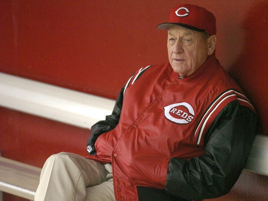 FRIDAY FEBRUARY 27, 2004 NUXHALL REDS Reds scouting legend Gene Bennett. Workouts continue at the Cincinnati Reds Spring Training Complex in Sarasota, Florida. Cincinnati Enquirer/Michael E. Keating mek