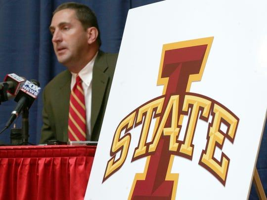 Jamie Pollard and the new ISU mark. Iowa State University