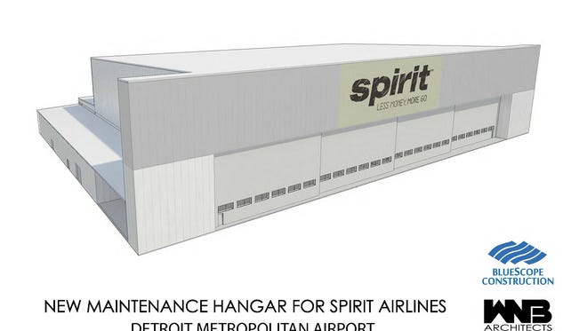 The new Spirit Airlines hanger will replace an older hanger razed about five years ago.