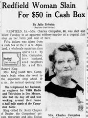 Myrtle Cumpston died March 9, 1965 in an apparent robbery.
