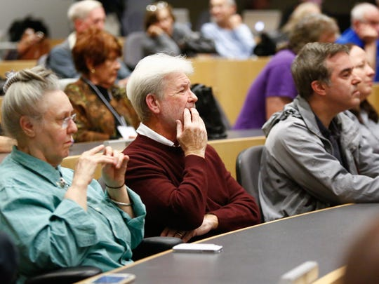 Residents listen to a debate between Michael Specht and Bill Weber at SUNY Rockland Community College in Suffern on Wednesday, October 18, 2017.