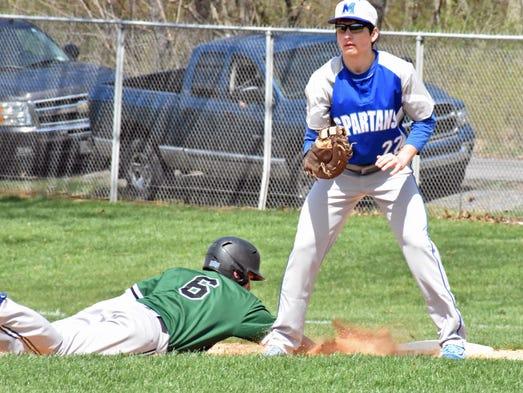 James Buchanan's Wyayy Chilcote slides into first base