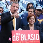 New York City Public Advocate Bill de Blasio, left, won the support of former rival, Christine Quinn, the City Council speaker.