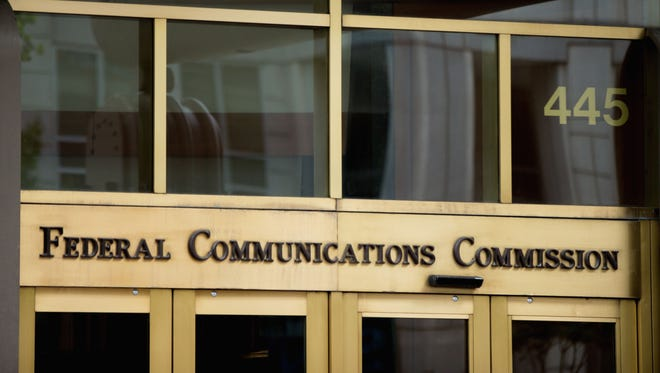 The entrance to the Federal Communications Commission (FCC) building in Washington on June 19, 2015.