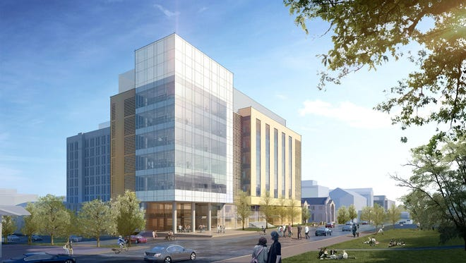 The UW-Madison Chemistry Building project (as viewed from the northeast, University Ave. side of the building) is shown in an architectural rendering.