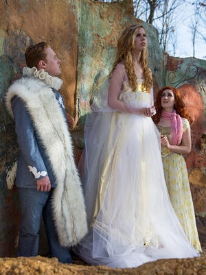 """UNC Asheville students Jackson Cole, Grace Derenne and Ginny Shafer  perform in Shakespeare's """"The Winter's Tale."""""""