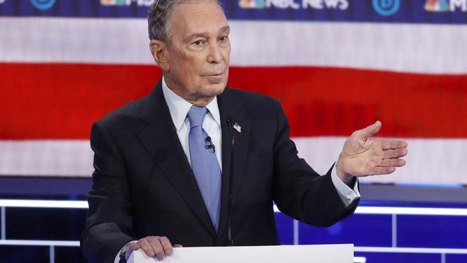 Democratic presidential candidate and former New York City Mayor Mike Bloomberg speaks during a Democratic presidential primary debate Wednesday in Las Vegas.