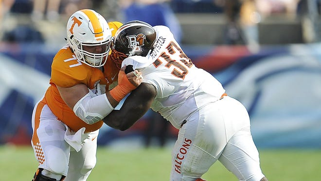 Kyler Kerbyson (77) is the only Tennessee offensive lineman to start at the same position every game this season.