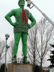 The Jolly Green Giant Statue in Blue Earth is decorated annually for the holidays.