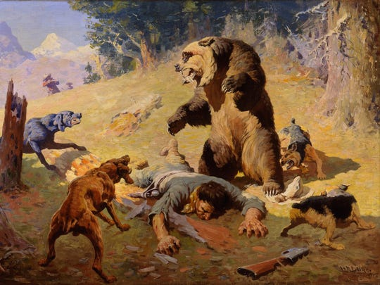 """""""Grizzy at Bay,"""" an oil painting by William R. Leigh,"""