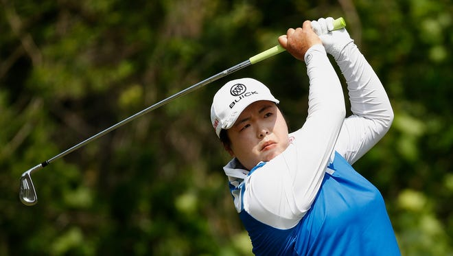 689397036.jpg ANN ARBOR, MI - MAY 28: Shanshan Feng of China watches her tee shot on the seventh hole during the final round of the LPGA Volvik Championship on May 28, 2017 at Travis Pointe Country Club Ann Arbor, Michigan. (Photo by Gregory Shamus/Getty Images)