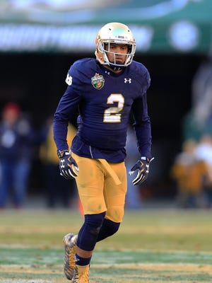 Notre Dame cornerback Cody Riggs plays against LSU in the first half of the Music City Bowl NCAA college football game Tuesday, Dec. 30, 2014, in Nashville, Tenn. (AP Photo/Mark Humphrey)