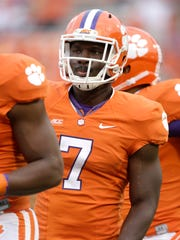 Clemson's Tony Steward (7) during warm ups before an NCAA college football game against North Carolina in Clemson, S.C., Saturday Sept. 27, 2014. Clemson won 50-35. (AP Photo/Bob Leverone)