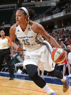 Marissa Coleman drives in to the lane during the Indiana Fever vs. Tulsa Shock game at Bankers Life Fieldhouse, Wednesday July 15th, 2015.